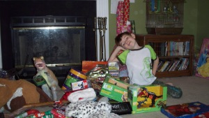 Tyler with his presents!