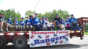 Lilly on her float with her t-ball team the Rangers!